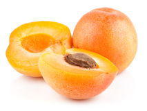 Apricot fruits with cut Stock Image