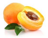 Apricot fruits with green leaf Royalty Free Stock Photography