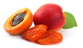 apricot fruits with green leaf and dried apricot isolated on white background Clipping Path Stock Photography