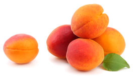 Apricot fruits with green leaf isolated on white background Clipping Path Stock Images