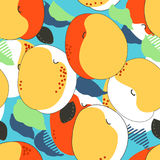 Apricot fruits seamless pattern. Fresh apricots, leaves and ston Stock Photo