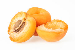 Apricot fruits. On white background stock photography