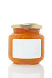 Apricot glass jar Royalty Free Stock Images