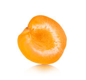 Apricot halves on an. Isolated white background royalty free stock photos
