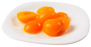 Free Apricot Halves On Plate Isolated Stock Image - 12880451
