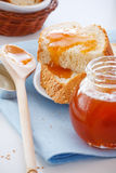 Apricot jam. Closeup of toast with apricot jam for breakfast Royalty Free Stock Images