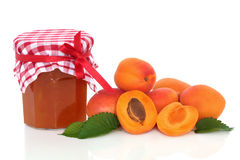Apricot Jam. With fruit whole and in half with leaf sprigs, over white background Royalty Free Stock Photos