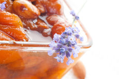 Apricot jam with almonds Stock Images