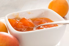 Apricot jam in bowl Royalty Free Stock Images