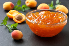 Apricot jam in  bowl Stock Image