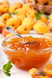 Apricot jam in  bowl Royalty Free Stock Photo
