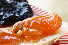 Apricot jam with bread Royalty Free Stock Images