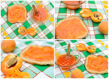 Apricot jam. Close up of apricot jam and bread on the table Royalty Free Stock Photo