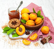 Apricot jam and fresh apricots Royalty Free Stock Image