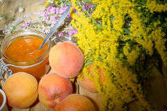 Apricot jam with fruit Royalty Free Stock Photos
