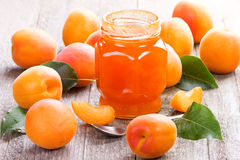 Apricot jam and fruits Stock Photos