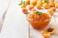 Apricot jam in a glass bowl Stock Images