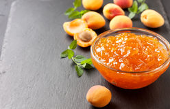 Apricot jam in a glass bowl Royalty Free Stock Image