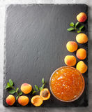 Apricot jam in a glass bowl  (Top view ) Stock Photos
