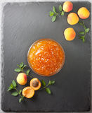 Apricot jam in a glass bowl  (Top view ) Royalty Free Stock Image
