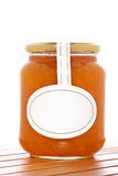 Apricot jam glass jar Royalty Free Stock Image