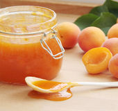 Apricot jam in a glass jar. Fresh apricots on background. Close up view. Royalty Free Stock Photos