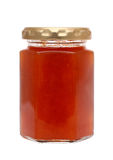 Apricot jam in glass jar Stock Images