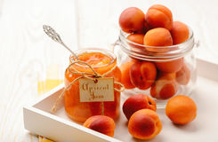 Apricot jam in glass jar. Royalty Free Stock Image