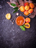 Apricot jam in glass jar Stock Photo