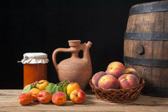 Apricot jam in of glass  jars and fresh fruits Stock Photo