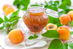 Apricot jam. Homemade apricot jam in a glass jar and fresh fruits with leaves Royalty Free Stock Photography