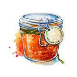 Apricot jam. Honey. Mason jar. Watercolor. Hand painted. Royalty Free Stock Photos