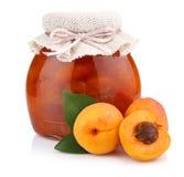 Apricot jam isolated on white Royalty Free Stock Photos