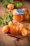 Apricot jam in jar Royalty Free Stock Image
