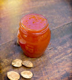 Apricot jam in jar Royalty Free Stock Photography
