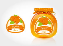 Apricot jam label with jar. Jar of apricot jam and designs for the label Stock Image