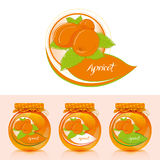 Apricot jam label with jar. Jar of apricot jam and designs for the label Royalty Free Stock Photo