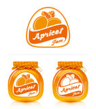 Apricot jam label with jar. Jar of apricot jam and designs for the label Royalty Free Stock Images