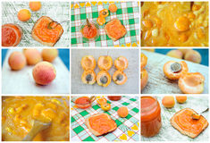 Apricot jam. Making traditional jam from fresh apricots Royalty Free Stock Photography