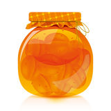 Apricot jam. To facilitate implementation of the designs drawn apricot jam jar Royalty Free Stock Photography