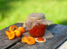 Apricot jam on a wooden bowl Stock Images
