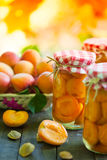 Apricot in jars and basket Stock Image