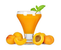 Apricot juice. In glass isolated on white background Stock Photos