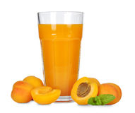 Apricot juice. In glass isolated on white background Royalty Free Stock Images