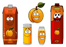 Apricot juice containers and fruit characters. Joyful apricot juice cartoon characters with orange and red juice cardboard containers, filled glasses and fruit Royalty Free Stock Image