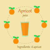Apricot juice  flat Royalty Free Stock Photos