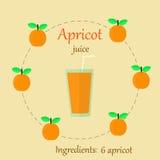 Apricot juice  flat Royalty Free Stock Photos