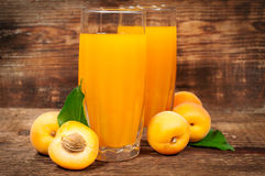 Apricot juice with fresh apricots Stock Photo