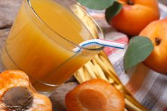 Apricot juice with fruit halves closeup horizontal Royalty Free Stock Photography
