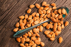 Apricot kernels sprinkled with metal spoon on a wooden background Stock Photography